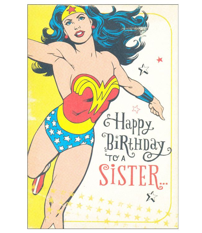 Wonder Woman Sister Birthday Card Birthday Wishes For Sister