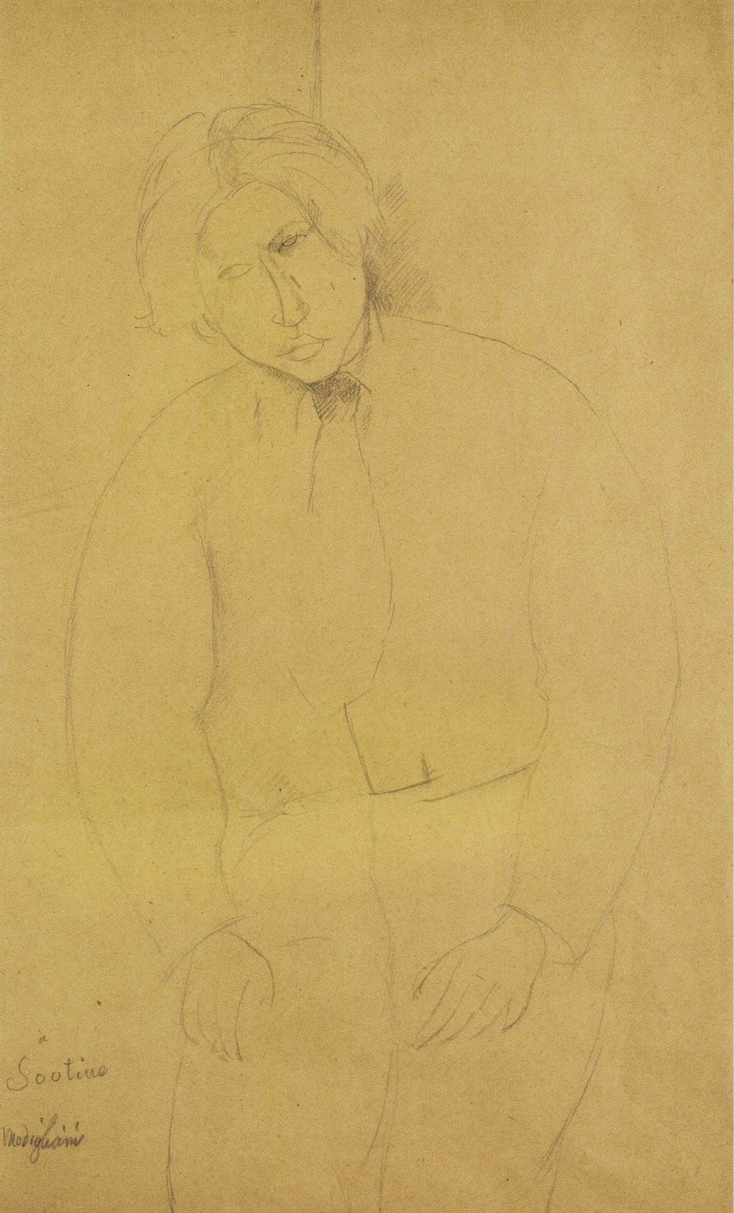 "Amedeo Modigliani ""Portrait of Haim Soutine"" pen, paper, 42x26 sm, 1916, collection Netter."