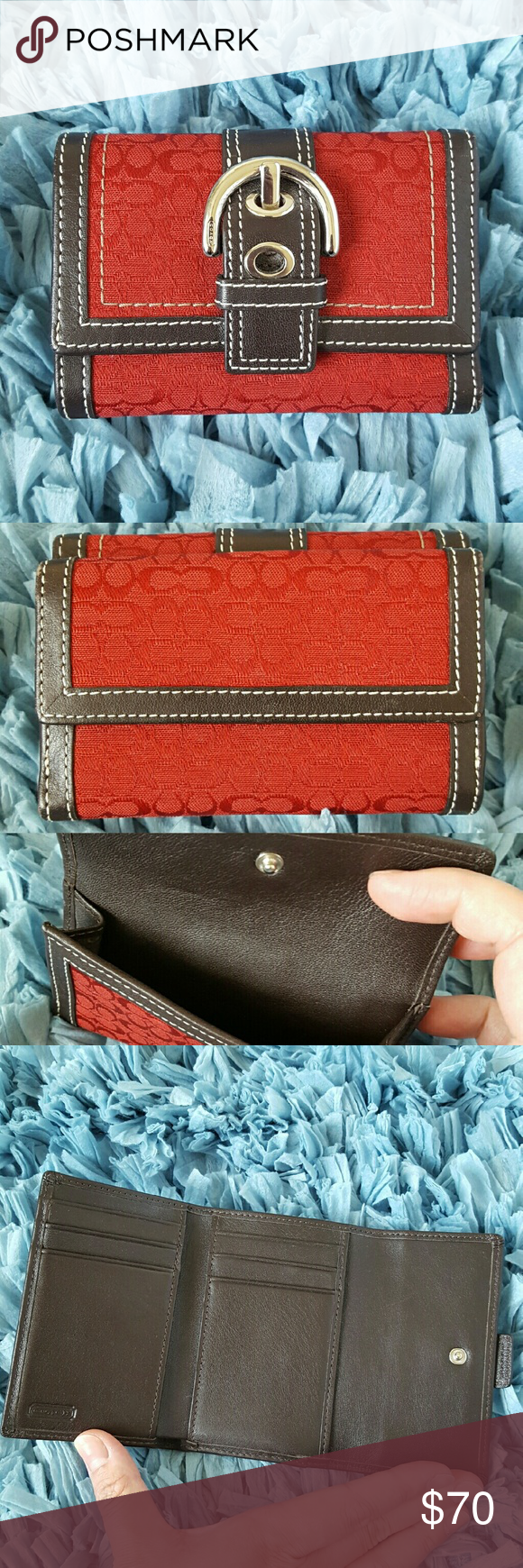 """Coach Signature Trifold Wallet This wallet features a dark red Coach Signature print with dark brown leather trims, front buckle design and coin holder. Interior features credit card slots and pockets for cash and miscellaneous. Pre-loved and in excellent condition with minor signs of use around the edges. Dimensions when closed and empty is 4.5"""" x 3"""" x 1.25"""". Dimensions when open is 4.5"""" x 8.5"""". Coach Bags Wallets"""