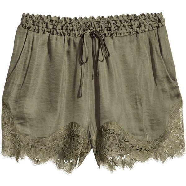 55d18dbdfe H&M Satin shorts ($28) ❤ liked on Polyvore featuring shorts, bottoms, short,  pants, khaki green, short khaki shorts, h&m shorts, h&m, short shorts and  ...