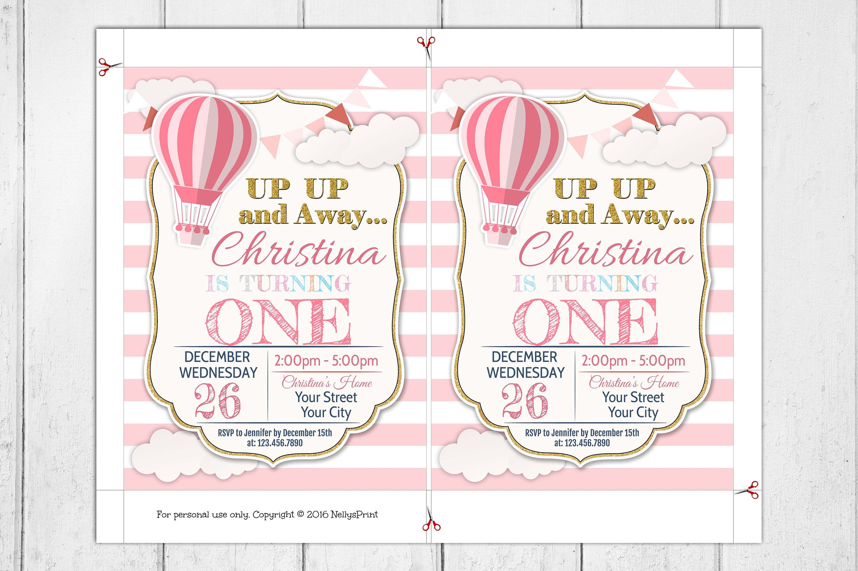 Hot Air Balloon Birthday Party Invitation, Birthday Party, Up Up and ...