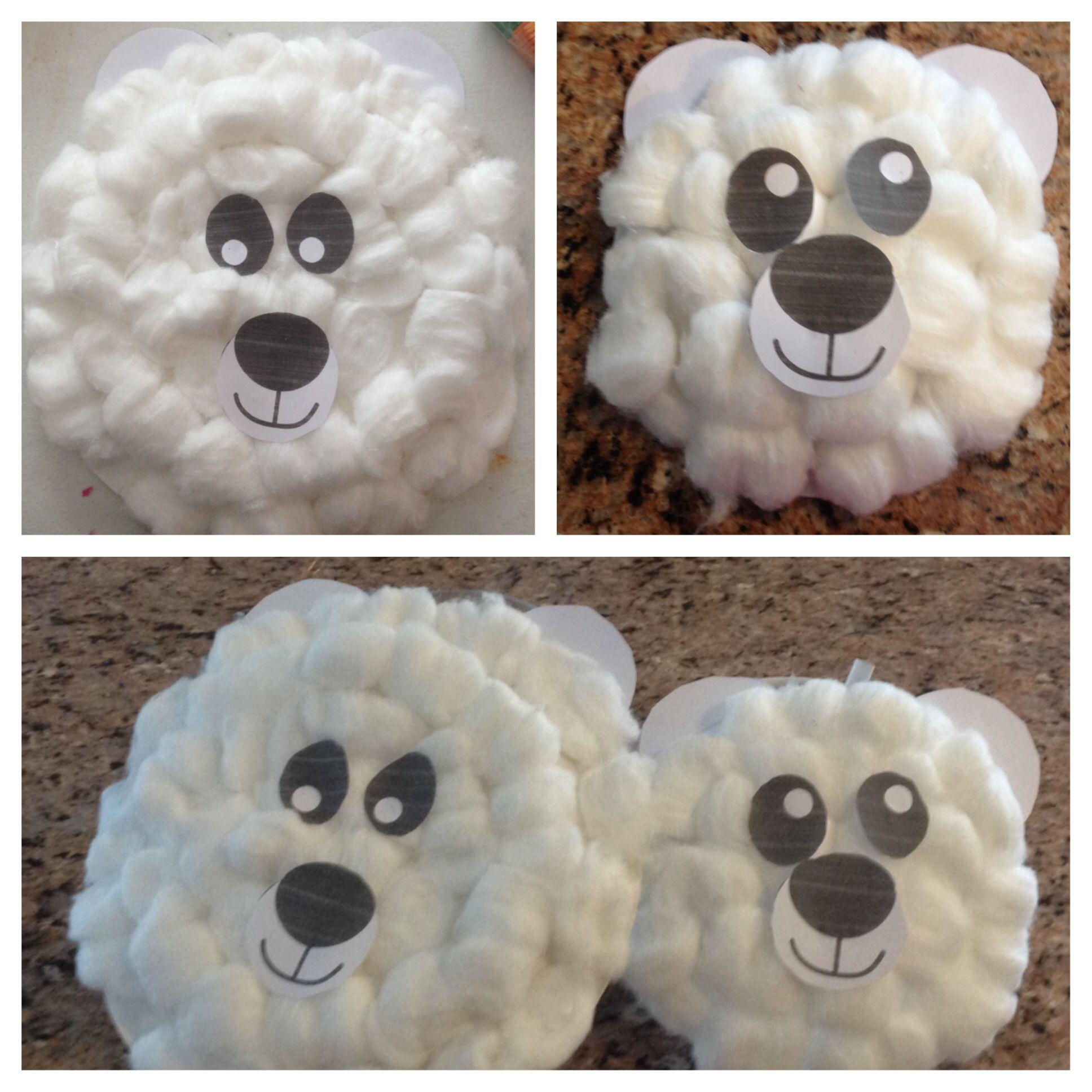 Paper plate polar bear craft - paper plate, cotton balls ...