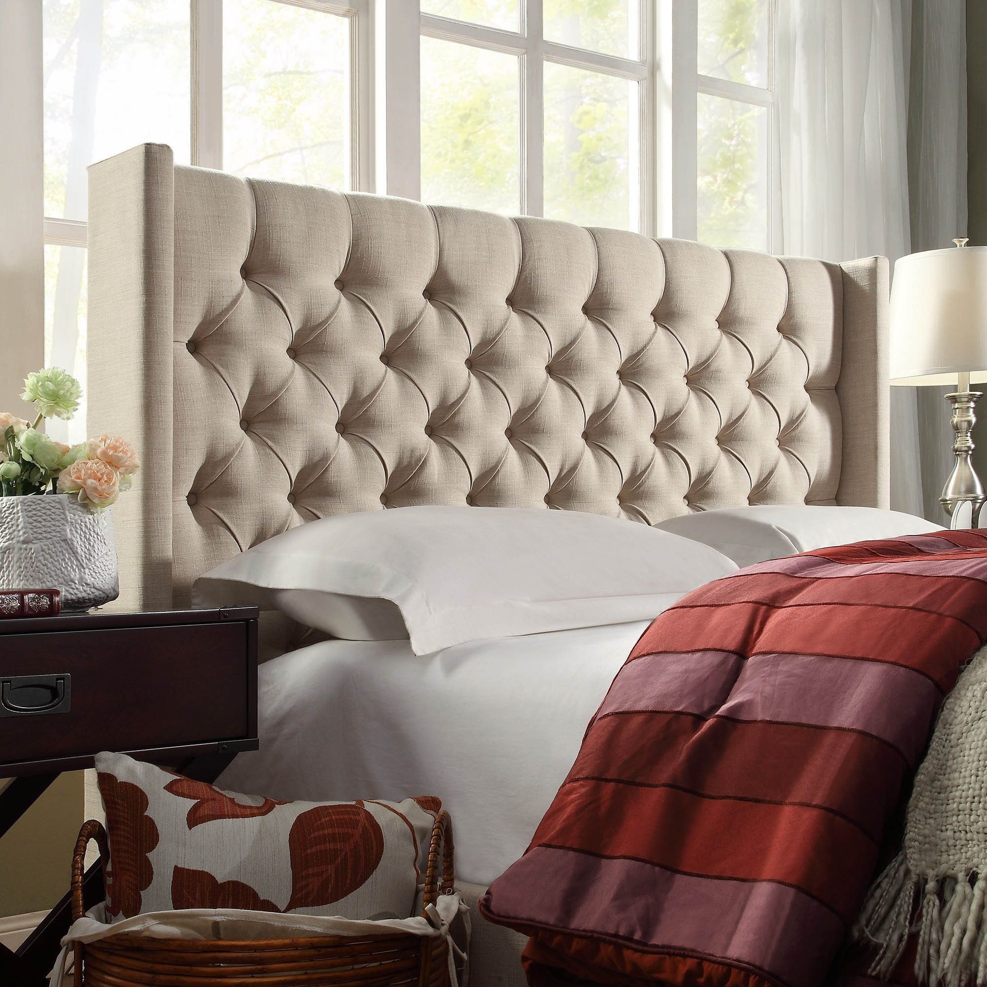 Naples Wingback Button Tufted Linen Fabric Full Size Headboard by iNSPIRE Q  Artisan by iNSPIRE Q