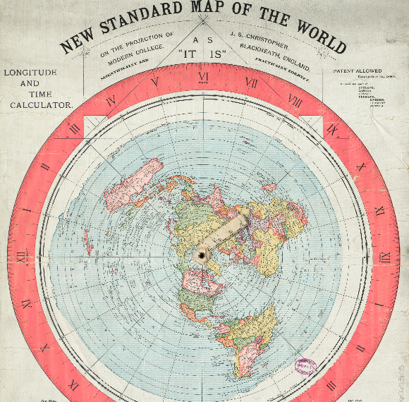 world flat earth map | 1892 Flat Earth Map Found In Boston Library