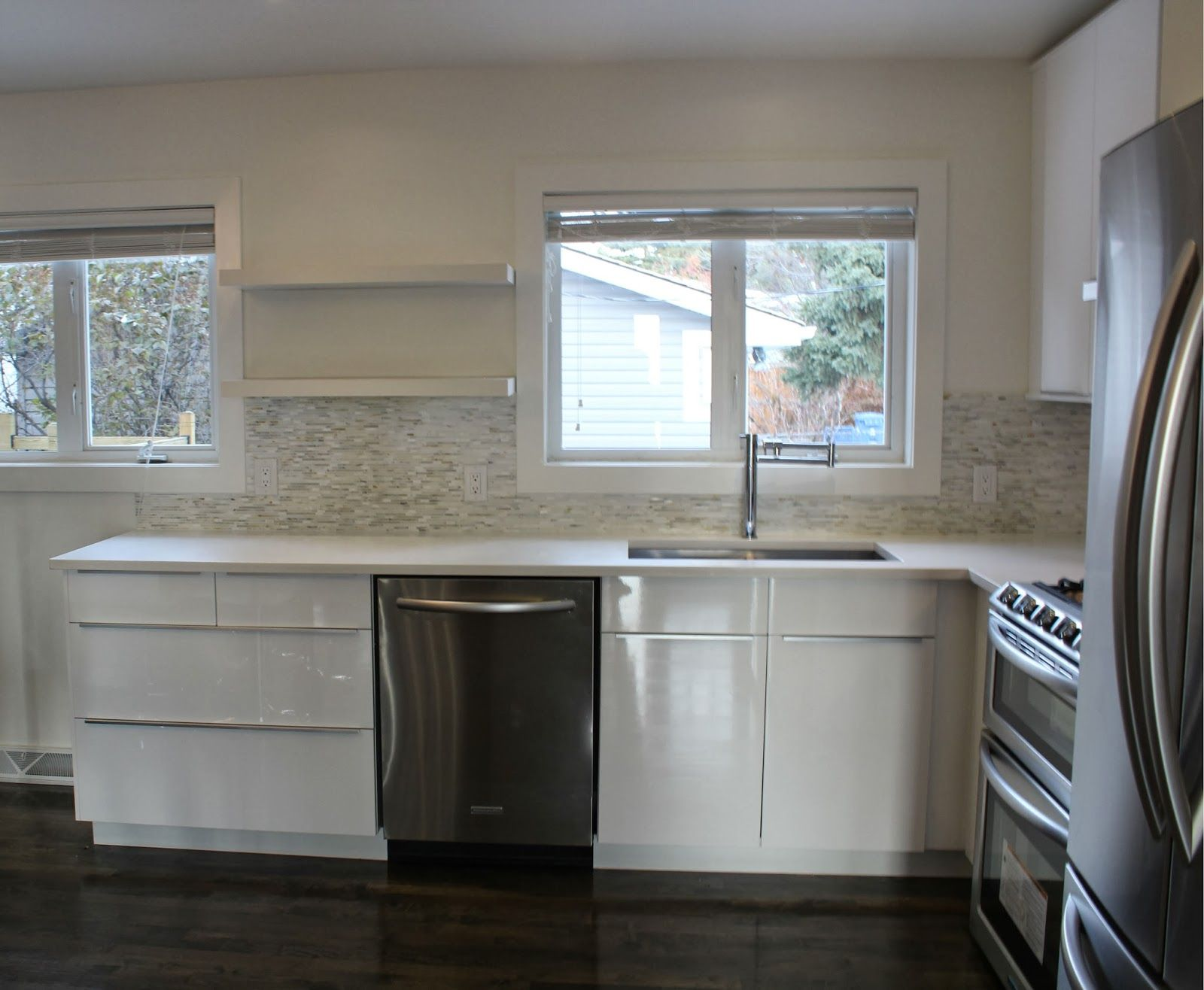 Ikea Abstract White High Gloss Kitchen Benjamin Moore Cloud White The Tally House Pinterest