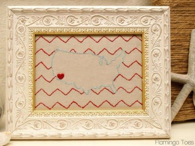 Embroidered USA Map with Cute Chevron Background » Flamingo Toes
