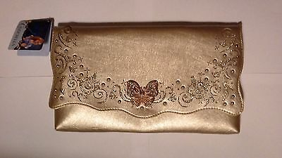 New Disney Cinderella Live Action Film Gold Butterfly Purse Hand Bag Clutch