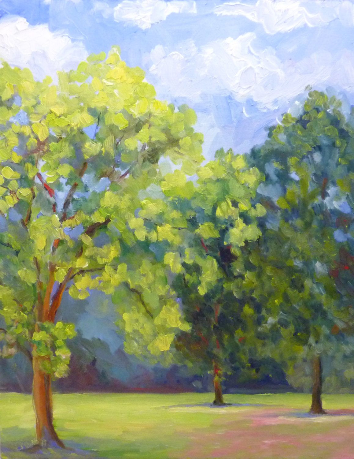 Oil Painting on Canvas Large Plein Air Landscape Summer