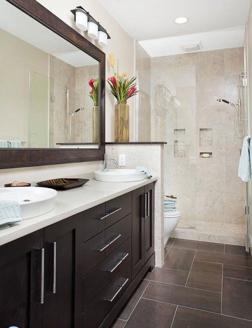 35 Dark Brown Bathroom Floor Tile Ideas And Pictures Part 21