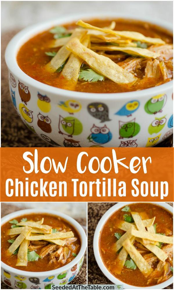 Slow Cooker Chicken Tortilla Soup #chickentortillasoup