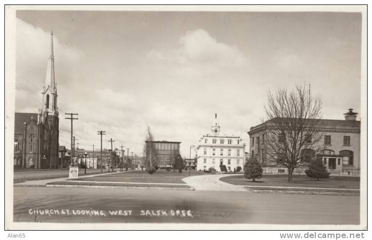 Salem OR Church Street Looking West, Architecture, on c1910s