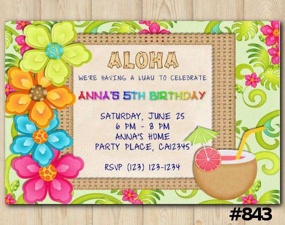Luau Birthday Invitation Havai Printable Diyprintables Digiinvites