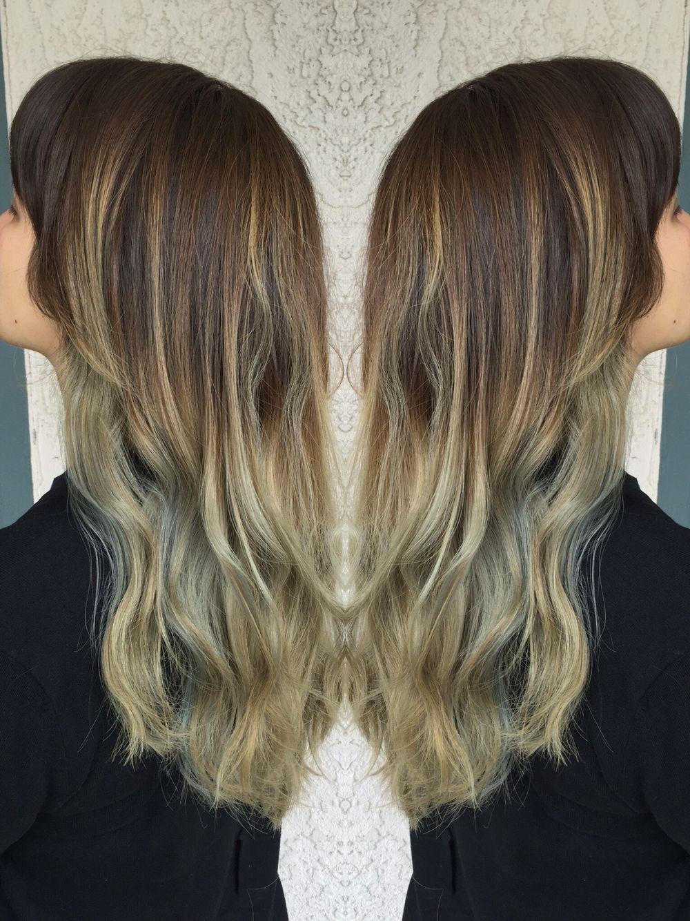 Grey ombre blue pastel hair long hair