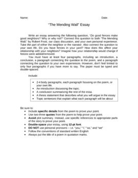 Essay About Healthy Food After Reading The Poem Quotthe Mending Wallquot By Robert Frost  Students Will Write An Essay Responding To The Question Quotdo Good  Fences Make Good  Essay On Health also Examples Of Argumentative Thesis Statements For Essays After Reading The Poem Quotthe Mending Wallquot By Robert Frost  Essay Writing Examples English