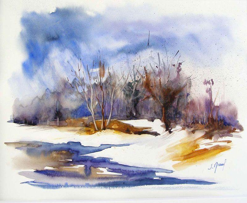 Neige au marandan aquarelles paysages et autres pinterest neige aquarelles et paysages - Paysage enneige dessin ...