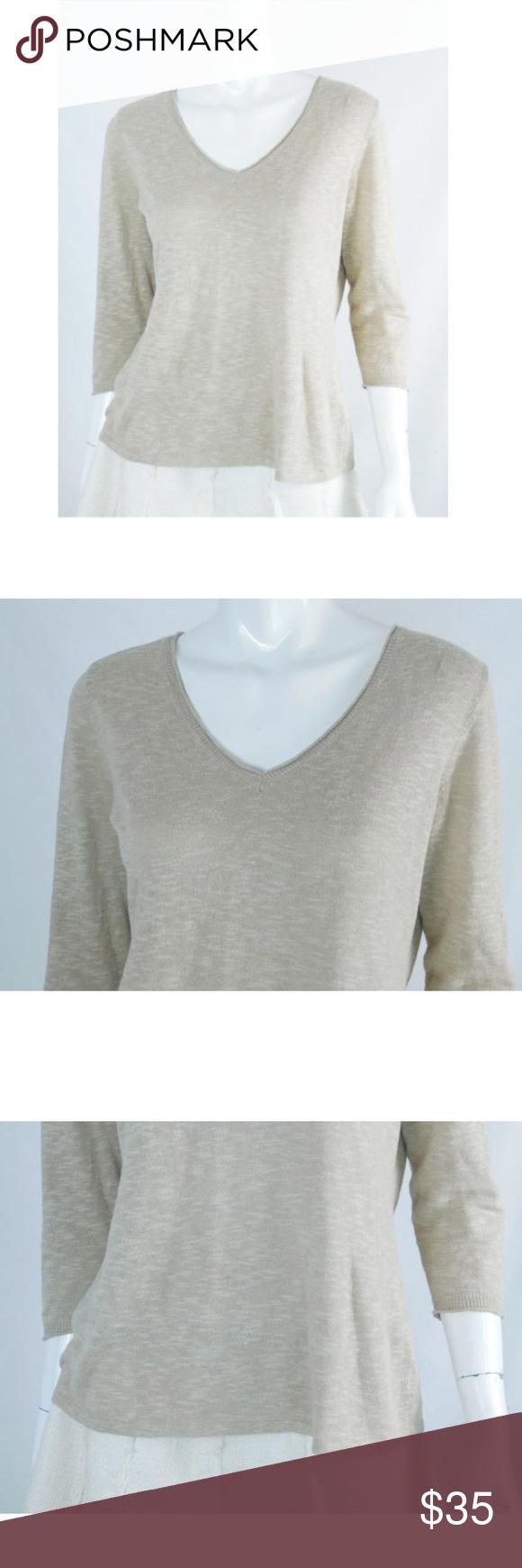 Eileen Fisher Light Tan Linen Blend V-neck Sweater | Linens ...