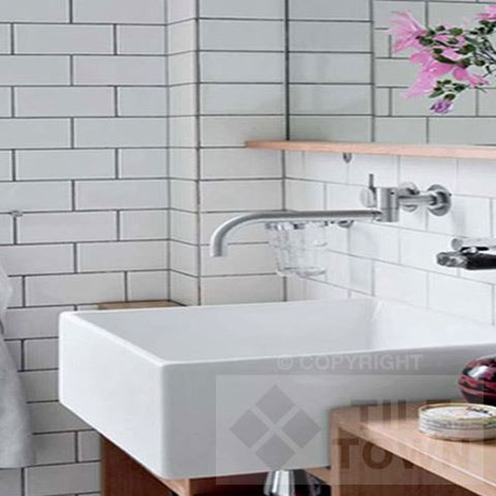 Linear White Bathroom Wall Tiles by Decocer (tile factory ...