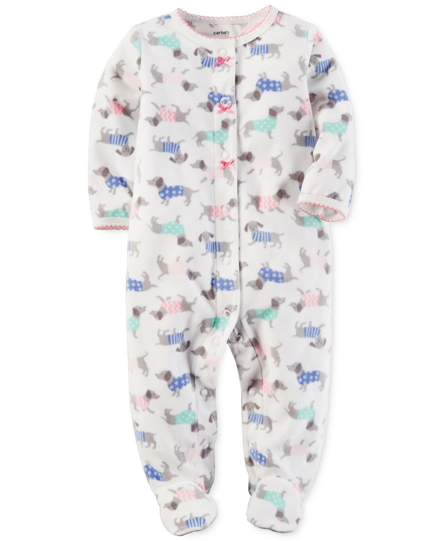 1d639edfced99 Carter's 1-Pc. Dog-Print Footed Fleece Coverall, Baby Girls (0-24 months)