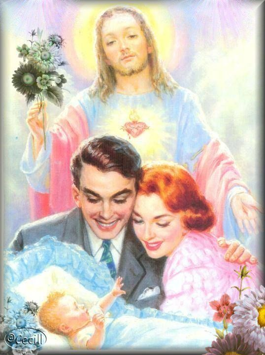 Sacred Heart of Jesus, watch over our family. Good grief- a little creepy!