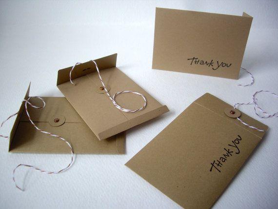Handmade envelopes, mini envelopes, string tie envelopes, kraft ...