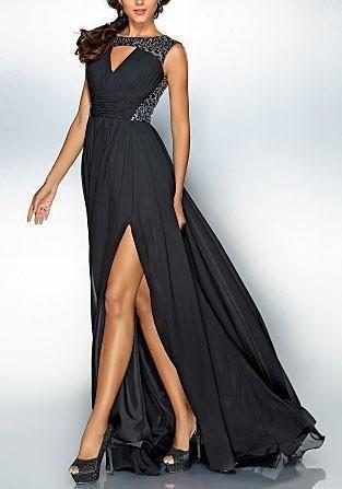 9f8e546d47e3 Black Sequin Draped Slit Banquet Flowy Elegant Party For Wedding Maxi Dress