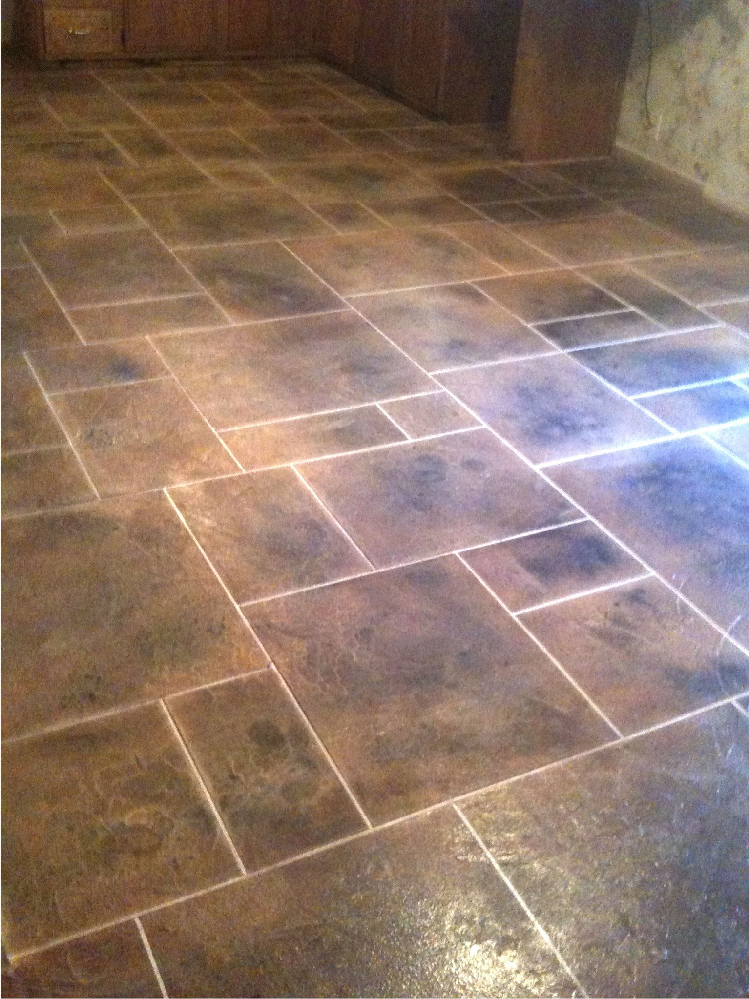 Kitchen floor tile patterns concrete overlay random for Kitchen tiles design photos