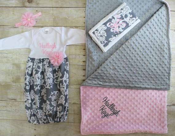 Baby Shower Gifts Keepsakes ~ Baby blanket set going home outfit gown baby layette pink