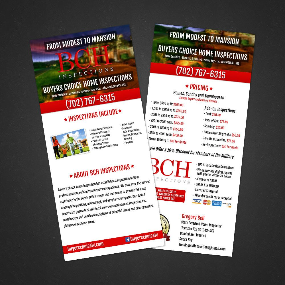 Buyers Choice Home Inspections   Rack Card Design