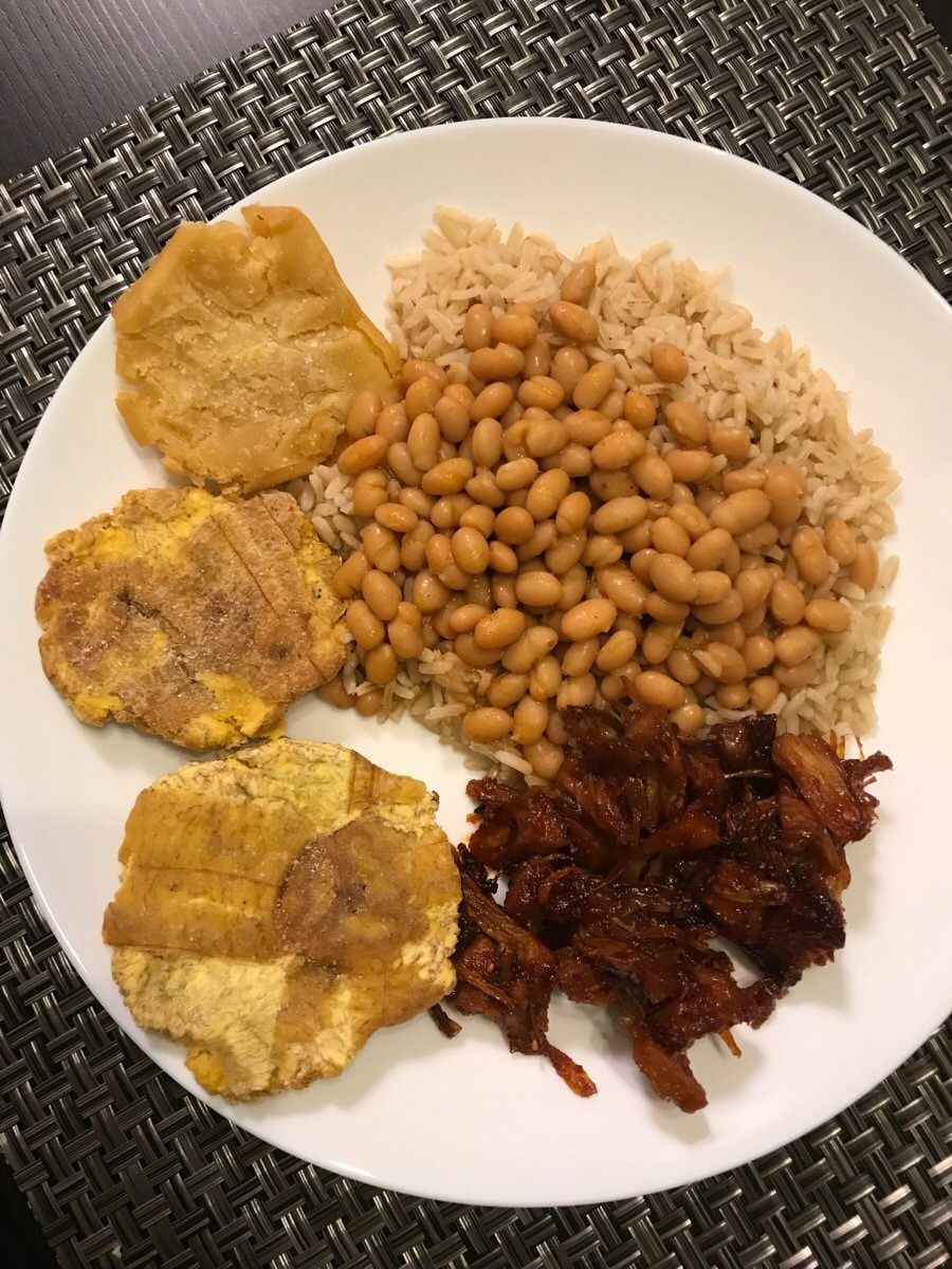 Vegan Puerto Rican Meal Jackfruit Bbq Pulled Pork Rice