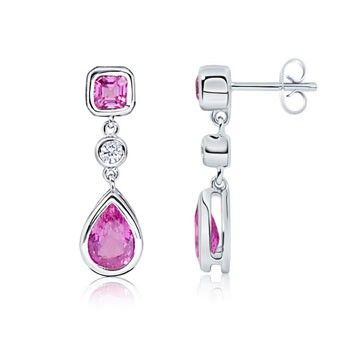Angara Pear Ruby Diamond Drop Earrings in White Gold TbxpoNQfI