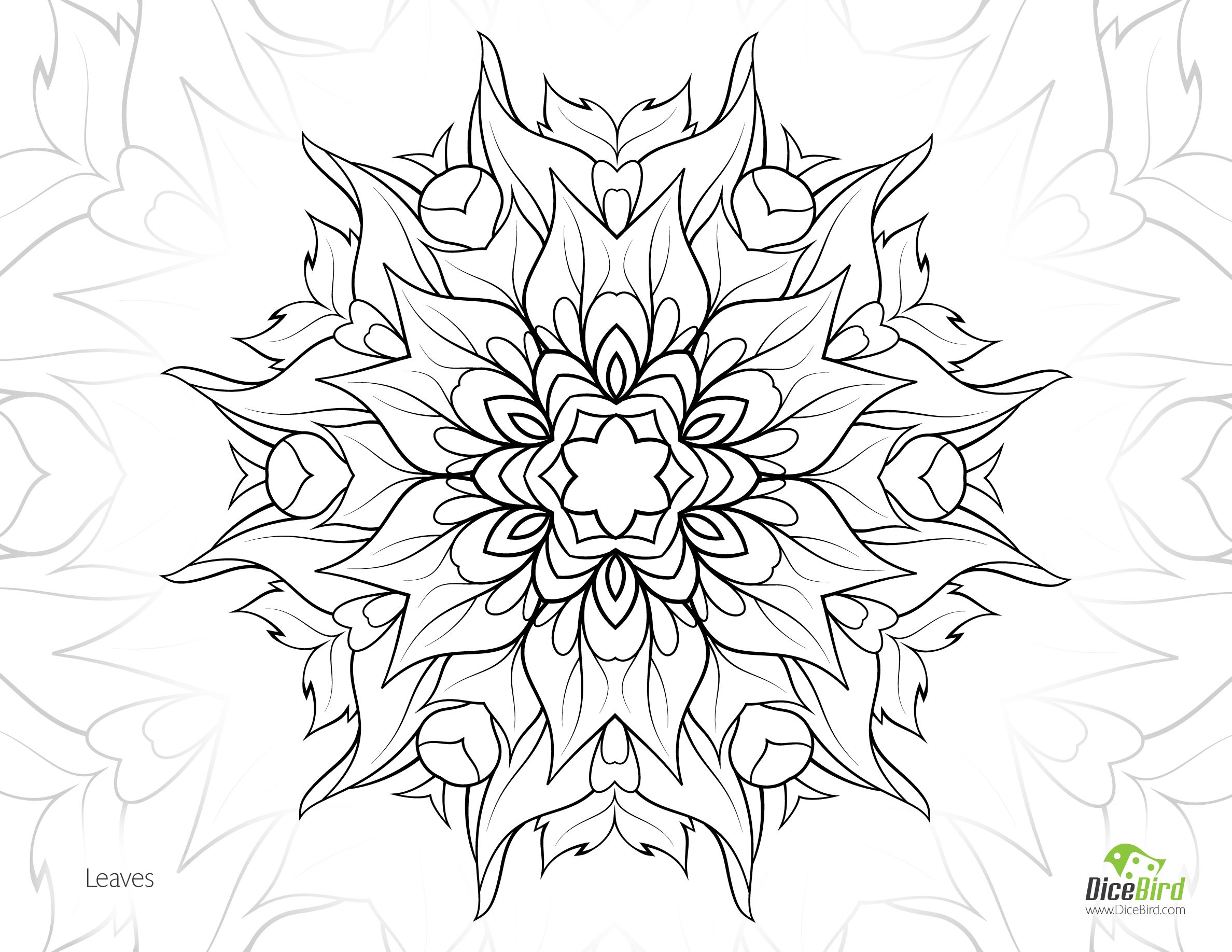 Stress relief coloring pages - Leaves Flower Free Adult Printable Mandala Colouring Page