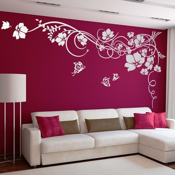 Gran floral con mariposas vinilos decorativos for Pegatinas pared dormitorio