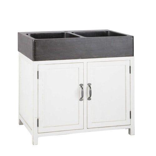 Küchenunterschrank aus Recyclingholz mit Spüle, B 90 cm, weiß ...
