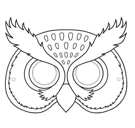 Masque de chouette a colorier masques pinterest - Coloriage masque a imprimer ...