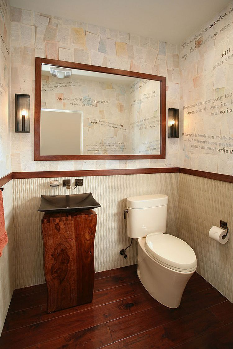 Hand painted wall paper by Lucy Jensen steals the show in this bathroom [Design: Cynthia Bennett & Associates]