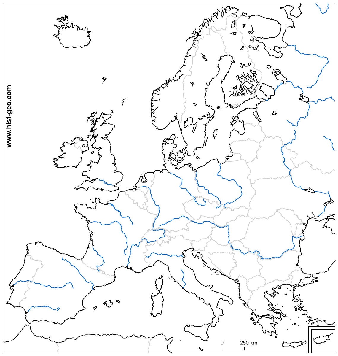 Free Blank Outline Map Of Europe With Its Countries And