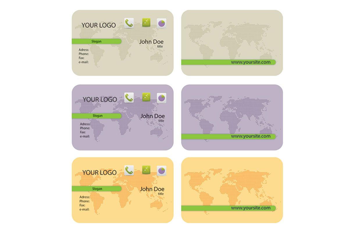 World Map Business Card Template With Rounded Corners => more at ...