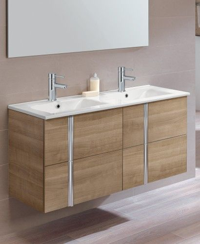 Athena Walnut 4 Drawer 120cm Wall Hung Vanity Unit And Basin   Double Sink  Vanity Units
