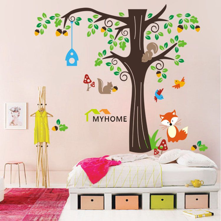 Large Size 7584inch Removable Cartoon Tree Wall Stickers Vinyl