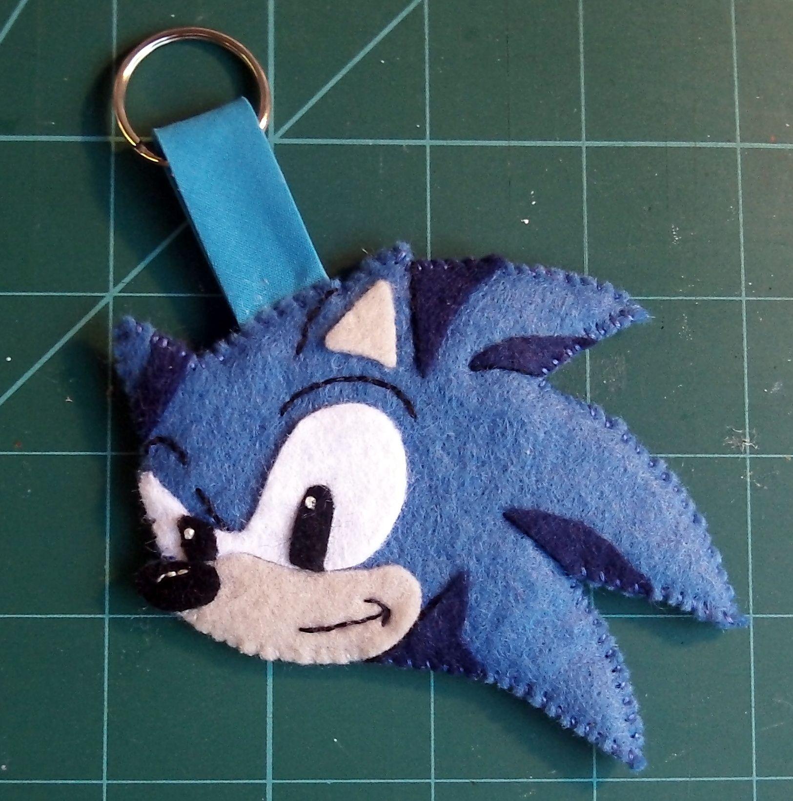 Sonic The Hedgehog Keyring Made From Felt Felt Toys Felt Keyring Felt Ornaments