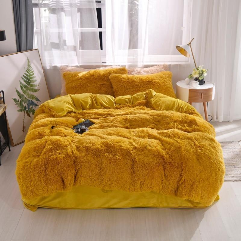 Fluffy Velvet Fleece Quilt Cover Bed Set 4 6 7 Pcs Golden Yellow Fluffy Duvet Velvet Bedding Sets Bedding Sets