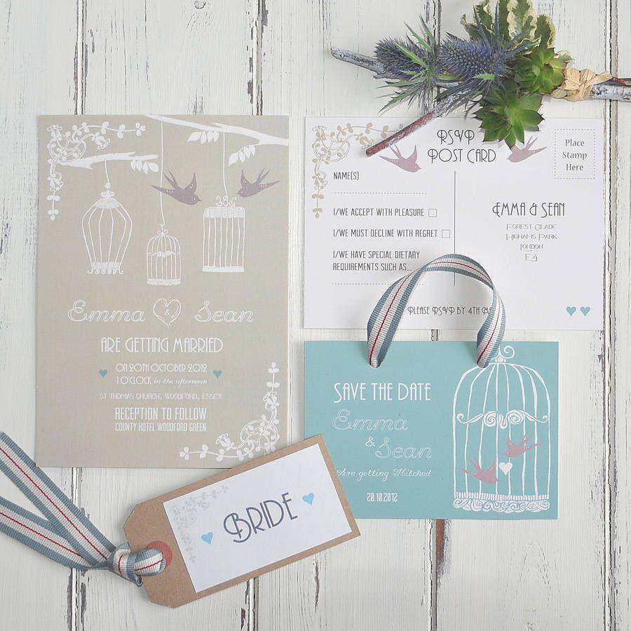 reception information on back of wedding invitation%0A Vintage Birdcage Wedding Invitation