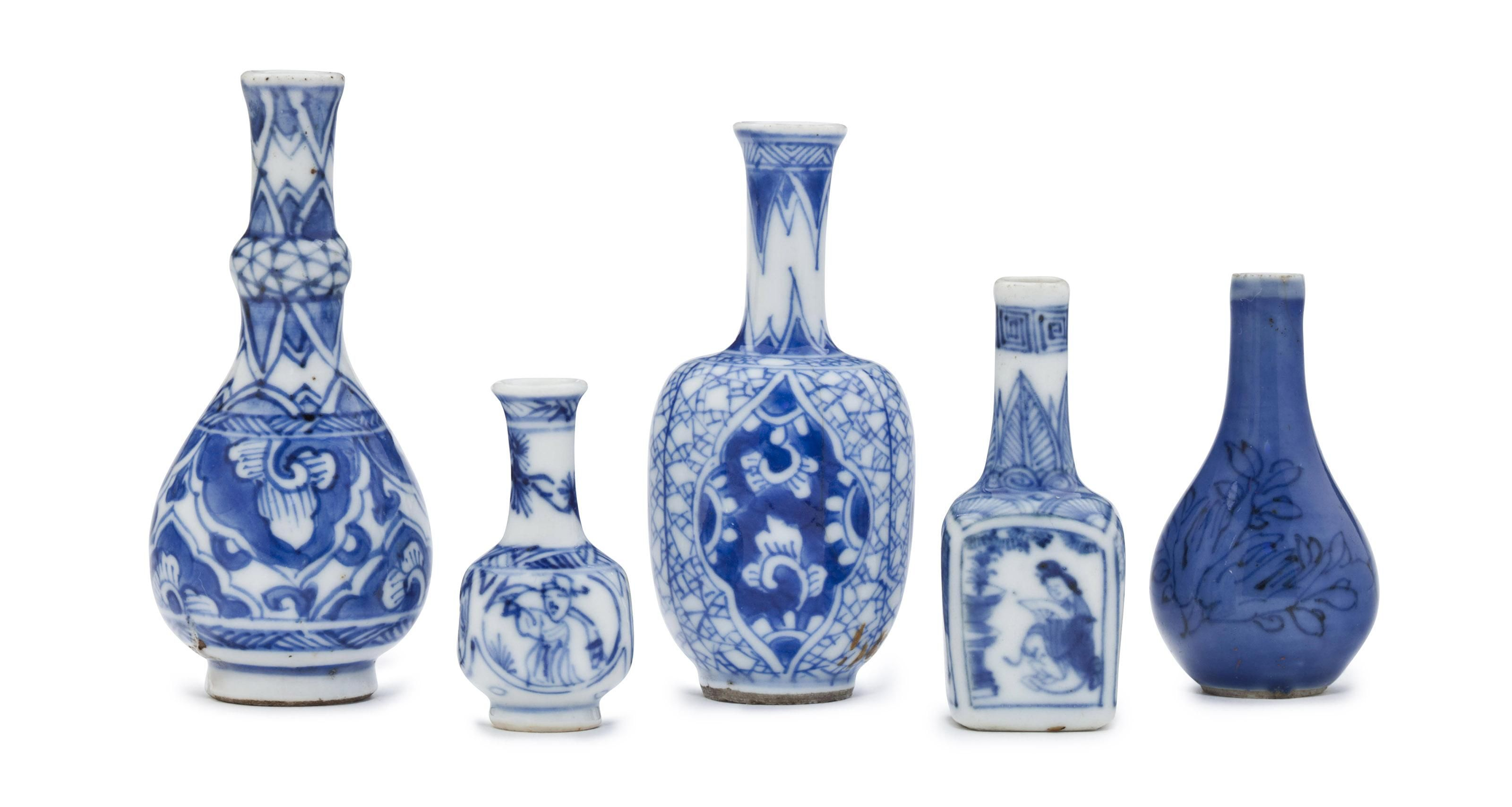 Four Miniature Blue And White Vases And A Miniature Blue Glazed Vase White Vases Blue And White Vase Blue And White Blue and white vases cheap
