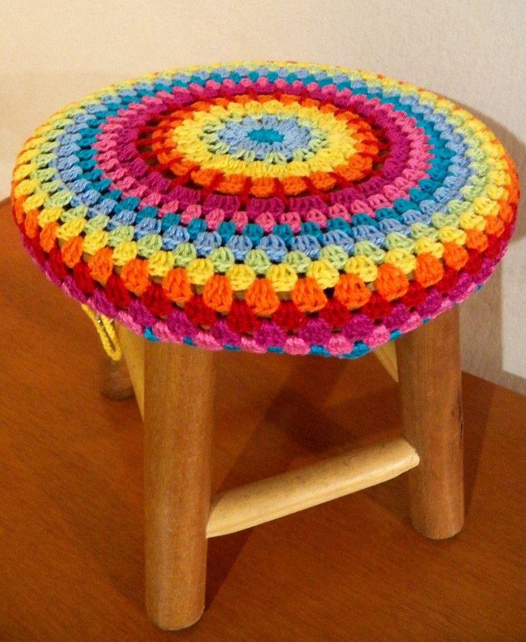 Capa Mandala Em Crochet Para Banco Casa De Croche Banquinho De