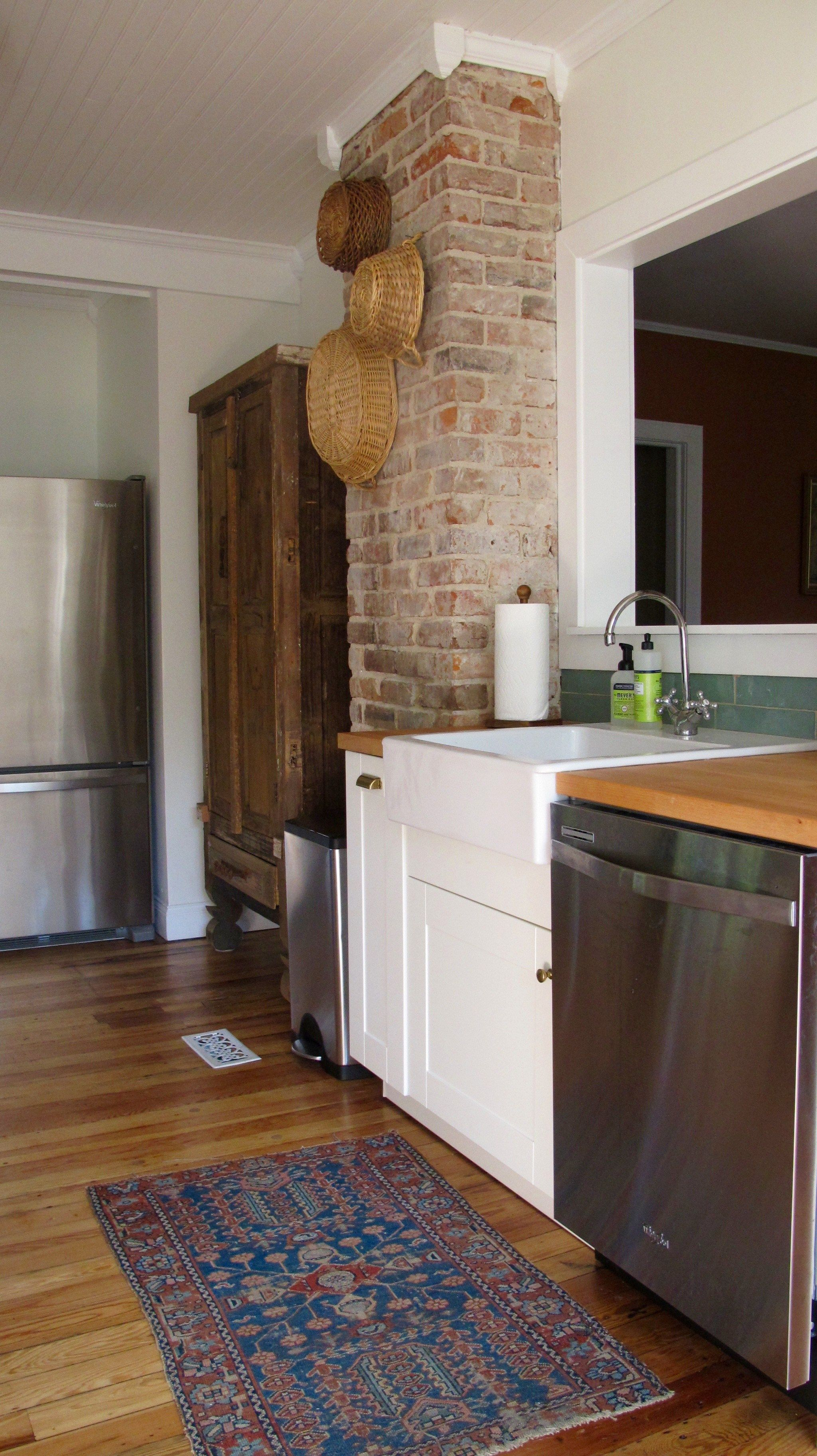 Kitchen Remodel Exposed Brick Chimney With Corner Blocks And Crown