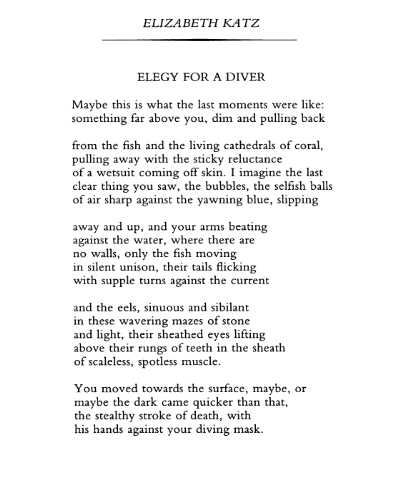 Elegy For A Diver Elizabeth Katz Elegy Poetry Magazine Poetry