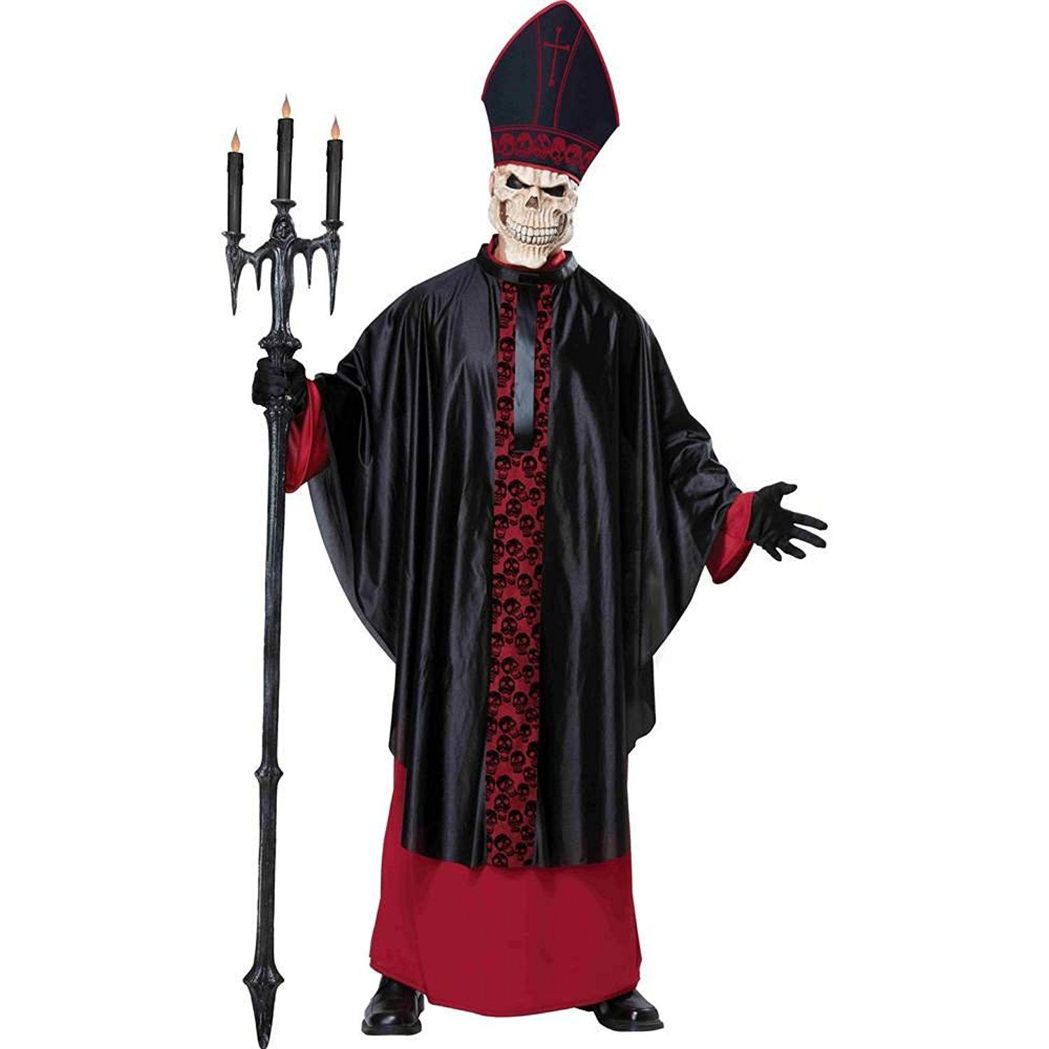 Mens Red Cardinal Heavy Fabric Costume Outfit for Priest Bishop Pope Fancy Dress