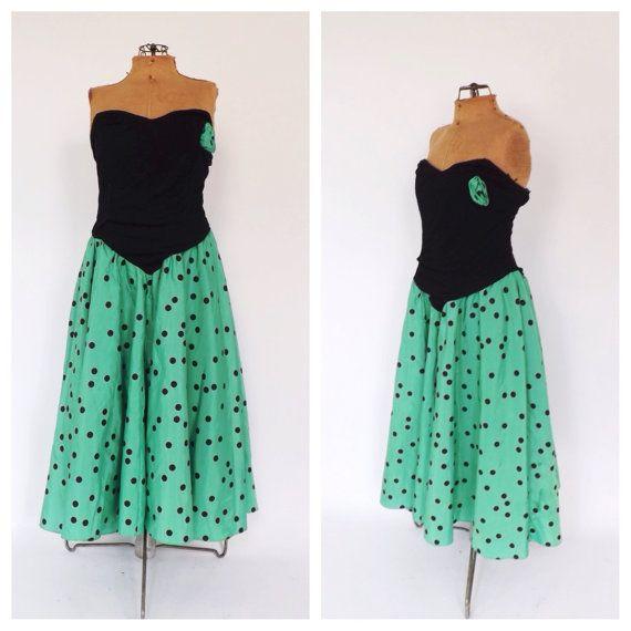 SIZE LARGE1980\'s does 1950s Green Black Polka Dot Prom Dress ...
