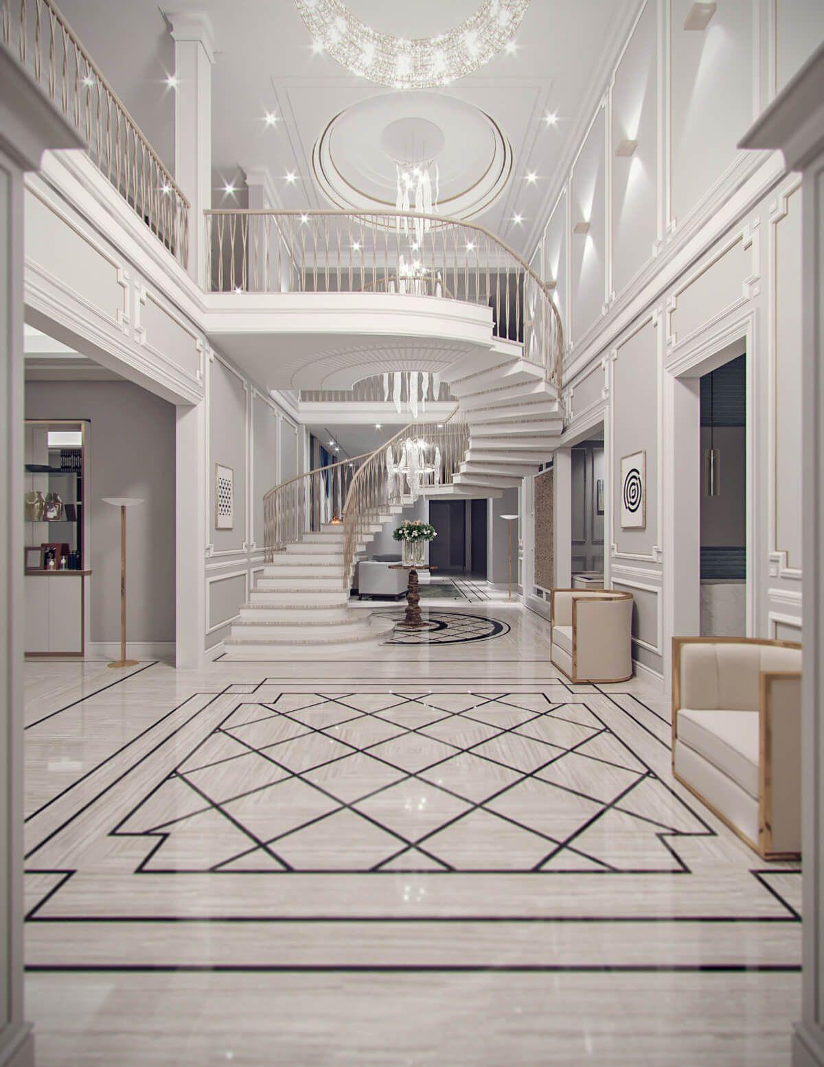Contemporary Classic Villa Design Jeddah Saudi Arabia Cas Mansion Interior Villa Design Staircase Design