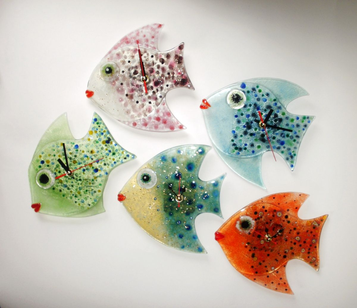 Fish wall clock fused glass hilaris art glass fusion fish wall clock fused glass amipublicfo Images